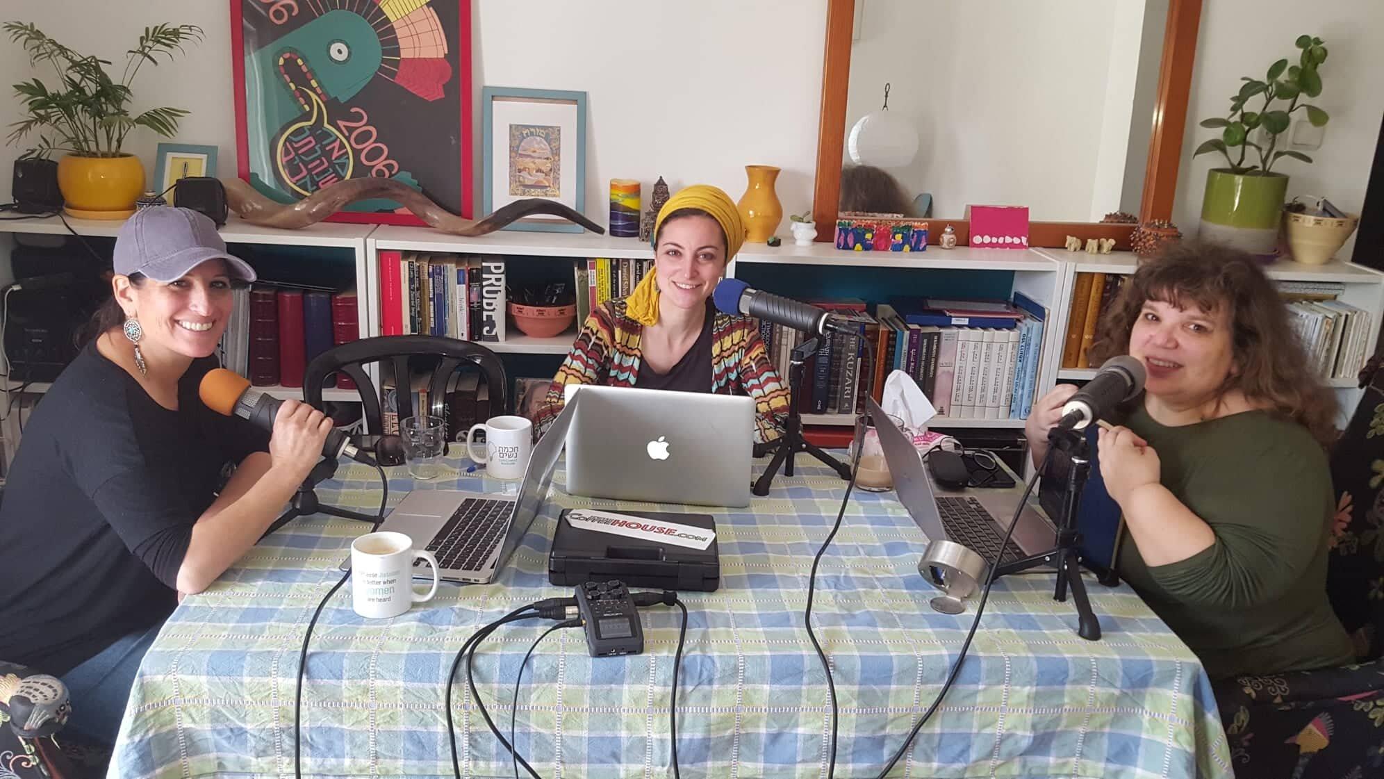 Shoshanna Keats Jaskoll and her team producing the Chochmat Nashim Podcast. Photo credit: Chochmat Nashim.